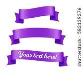 purple ribbon banners set.... | Shutterstock .eps vector #582139276