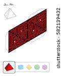 tetrahedron maze   template of... | Shutterstock .eps vector #582139432