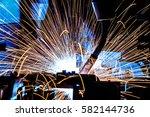 welding robots movement in a... | Shutterstock . vector #582144736