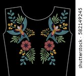 embroidery stitches with spring ... | Shutterstock .eps vector #582149245