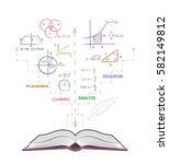 open book and mathematical... | Shutterstock .eps vector #582149812