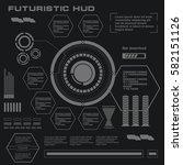 futuristic black and white hud  ...