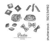 set of pasta. hand drawn...   Shutterstock .eps vector #582156982