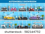showroom interior set.... | Shutterstock .eps vector #582164752