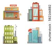flat design of retro and modern ... | Shutterstock .eps vector #582166882