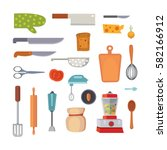 vector set kitchen utensils.... | Shutterstock .eps vector #582166912