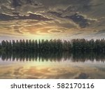 rows of pine trees with lake as ...   Shutterstock . vector #582170116