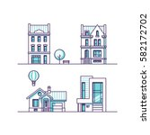 set of houses. vector... | Shutterstock .eps vector #582172702