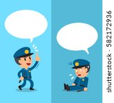 cartoon policeman expressing... | Shutterstock .eps vector #582172936