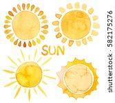 yellow shiny sun set watercolor ... | Shutterstock . vector #582175276