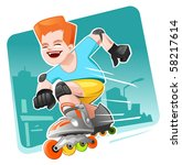 roller skating boy moving fast | Shutterstock .eps vector #58217614