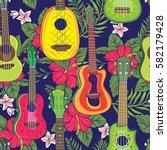 pop colorful hawaiian fruity... | Shutterstock .eps vector #582179428