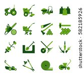 set of icons for gardening and... | Shutterstock .eps vector #582185926