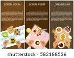set of persons are eating  top... | Shutterstock .eps vector #582188536