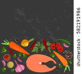 banner of raw food for cooking. ... | Shutterstock .eps vector #582191986