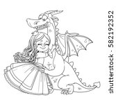 little princess hugs dragon... | Shutterstock .eps vector #582192352