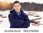handsome  stylish and young man ... | Shutterstock . vector #582196066