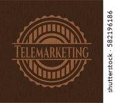 telemarketing wood emblem....   Shutterstock .eps vector #582196186