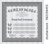 grey sample certificate.... | Shutterstock .eps vector #582196492