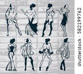 vector hand drawn collection... | Shutterstock .eps vector #582199762