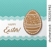 happy easter greeting card with ... | Shutterstock .eps vector #582201982
