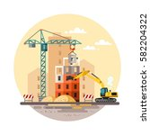 building work process with... | Shutterstock .eps vector #582204322