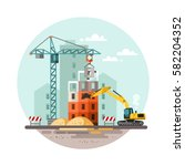 building work process with... | Shutterstock .eps vector #582204352