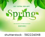 spring word on natural green... | Shutterstock .eps vector #582226048