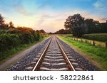 Railway Tracks In A Rural Scen...