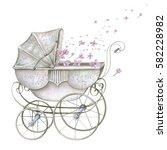 watercolor retro baby carriage... | Shutterstock . vector #582228982