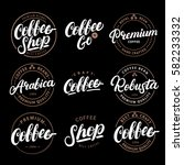 set of coffee hand written... | Shutterstock .eps vector #582233332