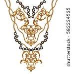 golden baroque and chain  | Shutterstock . vector #582234535