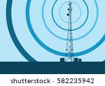 telecommunication tower with... | Shutterstock .eps vector #582235942