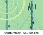 telecommunication tower with... | Shutterstock .eps vector #582236128