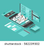 isometric smart phone interface.... | Shutterstock .eps vector #582239302