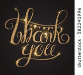 thank you gold textured... | Shutterstock .eps vector #582241996