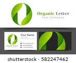 o letter with green leaves... | Shutterstock .eps vector #582247462