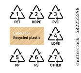 labels for recycling plastic...   Shutterstock .eps vector #582255298