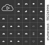 white clouds icon set on gray...