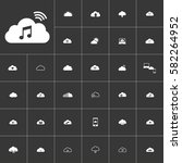melody. white clouds icon set...