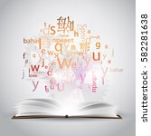 a cloud of letters and words in ...   Shutterstock .eps vector #582281638