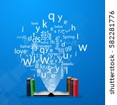 a cloud of letters and words in ... | Shutterstock .eps vector #582281776