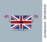 union jack flag cheering | Shutterstock . vector #582283165