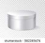 white round box isolated on... | Shutterstock .eps vector #582285676