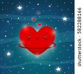 cute planet of love  cartoon... | Shutterstock .eps vector #582288166