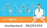 health care online consultation ... | Shutterstock .eps vector #582291535