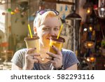 young happy blonde woman with... | Shutterstock . vector #582293116