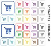 shopping cart color flat icons... | Shutterstock .eps vector #582295108