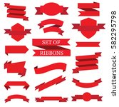 set of red ribbons | Shutterstock .eps vector #582295798