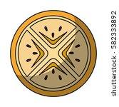 fresh fruit slice isolated icon   Shutterstock .eps vector #582333892